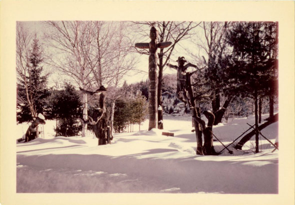 totem pole in the snow